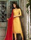 image of Yellow Color Party Wear Straight Cut Salwar Suit In Satin Georgette Fabric With Embroidery Work