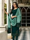 image of Satin Georgette Fabric Green Color Function Wear Embroidered Straight Cut Suit