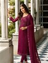 image of Occasion Wear Satin Georgette Fabric Embroidered Straight Cut Salwar Kameez In Dark Magenta Color