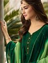 photo of Embroidery Work On Satin Georgette Fabric Dark Green Color Wedding Wear Straight Cut Salwar Suit