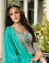 photo of Grey Color Satin Georgette Fabric Sangeet Wear Straight Cut Suit With Embroidery Work