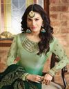 photo of Georgette Embroidered Fancy Straight Cut Salwar Suit In Dark Green