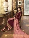 picture of Georgette Festive Wear Fancy Embroidered Straight Cut Suit In Maroon