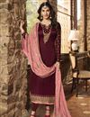 image of Georgette Festive Wear Fancy Embroidered Straight Cut Suit In Maroon