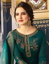 photo of Embroidery Designs On Satin Georgette Fabric Green Color Function Wear Straight Cut Salwar Suit