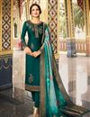 image of Embroidery Designs On Satin Georgette Fabric Green Color Function Wear Straight Cut Salwar Suit