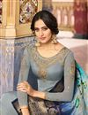 photo of Embroidered Grey Color Satin Georgette Fabric Function Wear Straight Cut Suit
