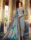 image of Embroidered Grey Color Satin Georgette Fabric Function Wear Straight Cut Suit