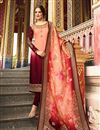 image of Maroon Color Satin Georgette Fabric Function Wear Straight Cut Salwar Kameez With Embroidery Designs