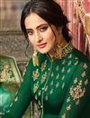 photo of Satin Georgette Fabric Dark Green Color Occasion Wear Straight Cut Suit With Embroidery Work