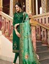 image of Satin Georgette Fabric Dark Green Color Occasion Wear Straight Cut Suit With Embroidery Work