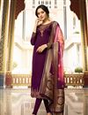 image of Dark Magenta Color Satin Georgette Fabric Festive Wear Straight Cut Salwar Kameez With Embroidery Work