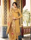 image of Festive Wear Straight Cut Salwar Suit In Satin Georgette Fabric Cream Color