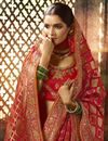 photo of Weaving Work Red Saree In Art Silk With Heavy Blouse