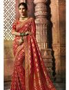 image of Weaving Work Red Saree In Art Silk With Heavy Blouse