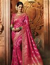 image of Art Silk Party Wear Rani Color Weaving Work Saree With Fancy Blouse