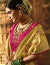 photo of Weaving Work Art Silk Saree In Yellow With Designer Blouse
