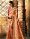 image of Peach Art Silk Party Wear Weaving Work Saree With Fancy Blouse
