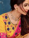 photo of Cotton Fabric Designer Saree In Yellow With Embroidery Designs And Attractive Blouse