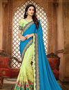 image of Sky Blue Art Silk Fabric Embroidered Designer Saree With Designer Blouse