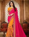 image of Embroidery Work On Art Silk Fabric Rani Party Wear Saree With Amazing Blouse