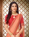 photo of Art Silk Fabric Peach Function Wear Saree With Embroidery Work And Astounding Blouse
