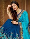photo of Sky Blue Designer Embroidered Saree In Art Silk Fabric With Attractive Blouse