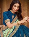 photo of Art Silk Fabric Party Wear Saree In Sea Green With Embroidery Work And Beautiful Blouse