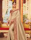 image of Embroidery Work On Art Silk Fabric Cream Color Designer Saree With Party Wear Blouse
