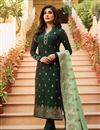 image of Kritika Kamra Featuring Jacquard Fabric Dark Green Color Function Wear Embroidered Anarkali Suit