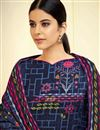 photo of Fancy Daily Wear Pashmina Fabric Printed Palazzo Suit In Navy Blue