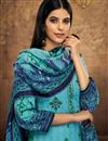 photo of Fancy Pashmina Fabric Casual Style Printed Cyan Palazzo Suit