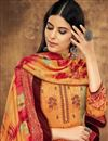 photo of Fancy Casual Style Pashmina Fabric Printed Palazzo Suit In Orange