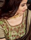 photo of Traditional Brown Color Saree In Satin Georgette Fabric With Lace Work For Wedding Function