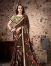 image of Traditional Brown Color Saree In Satin Georgette Fabric With Lace Work For Wedding Function