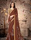 image of Function Wear Satin Georgette Fabric Lace Work On Saree In Brown Color With Alluring Blouse