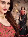 photo of Lace Work Designs On Satin Georgette Fabric Black Color Party Wear Saree With Mesmerizing Blouse