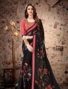 image of Lace Work Designs On Satin Georgette Fabric Black Color Party Wear Saree With Mesmerizing Blouse
