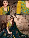 photo of Lace Work On Satin Georgette Fabric Teal Color Function Wear Saree With Party Wear Blouse