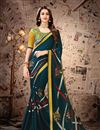 image of Lace Work On Satin Georgette Fabric Teal Color Function Wear Saree With Party Wear Blouse