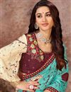 photo of Lace Work On Reception Wear Saree In Art Silk Fabric Cyan Color With Charming Blouse