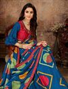 photo of Art Silk Fabric Designer Lace Work Saree In Blue Color With Attractive Blouse