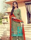 image of Embellished Khaki Color Designer Party Wear Palazzo Suit In Pashmina Fabric
