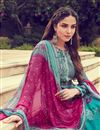photo of Pashmina Fabric Printed Grey Color Festive Wear Palazzo Salwar Suit