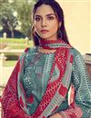 photo of Pashmina Fabric Party Wear Printed Palazzo Suit In Dark Teal Color
