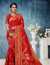 image of Weaving Work On Banarasi Silk Red Color Function Wear Saree With Party Wear Blouse