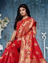 photo of Weaving Work On Banarasi Silk Fabric Red Saree For Mehendi Ceremony