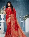 image of Weaving Work On Banarasi Silk Fabric Red Saree For Mehendi Ceremony