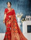 image of Weaving Work Designs On Red Color Banarasi Silk Party Wear Saree With Designer Blouse
