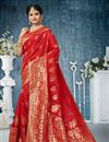 image of Traditional Red Saree In Banarasi Silk Fabric With Weaving Work For Wedding Function